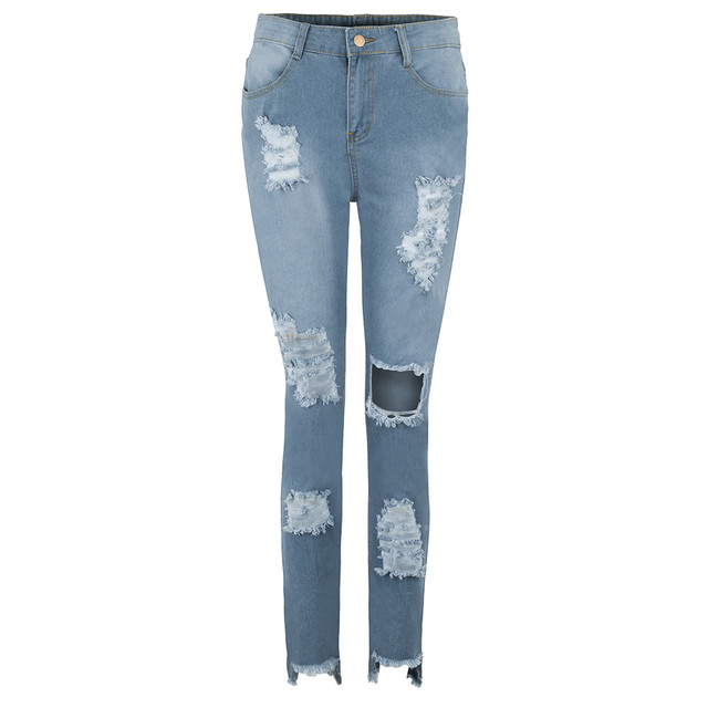 2021 Newest Hot Womens Stretch Skinny Ripped Hole Washed Denim Jeans Female Slim Jeggings High Waist Pencil Pants Trousers #R25 6