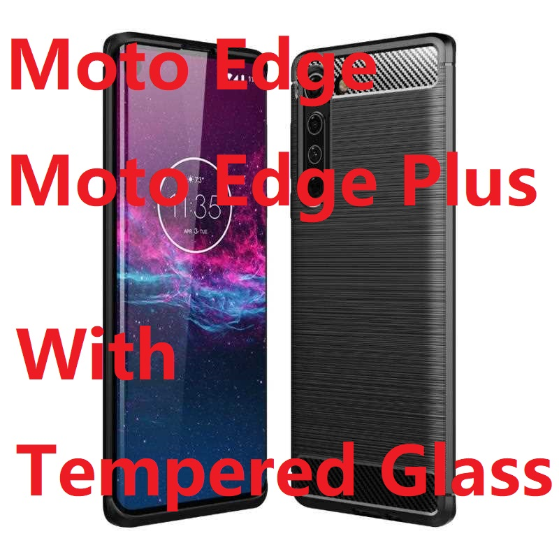 Armor Phone Case For Motorola Edge Plus Cases +Tempered Glass Soft Gel Skin Protection Carbon Fiber Moto Edge Silicon Covers