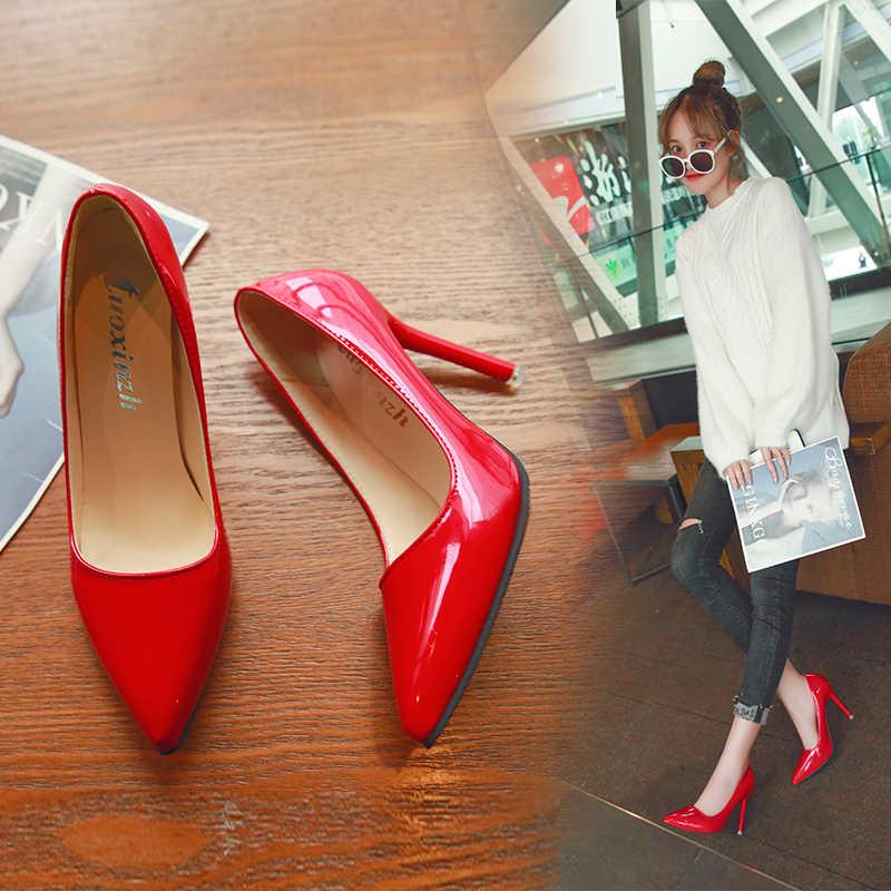 ヨーロッパとアメリカのセクシーなエレガントな指摘ハイヒール黒い作業単一の靴ドレスパーティー女性靴赤結婚式靴