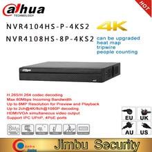 Dahua-Grabadora de vídeo NVR 4K, de hasta 8MP NVR4104HS-P-4KS2, resolución de NVR4108HS-8P-4KS2, contador de personas, intrusión, tripwire, mapa de calor