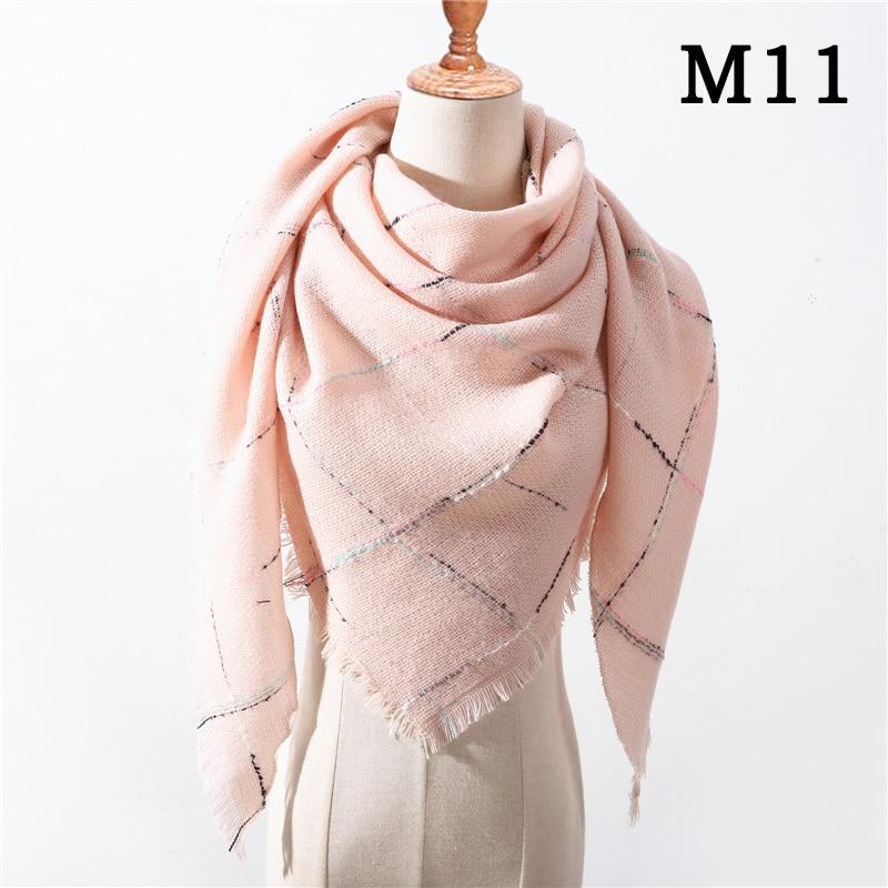 Женский зимний шарф в ретро стиле, кашемировые вязаные пашмины шали, женские мягкие треугольные шарфы, бандана, теплое одеяло, новинка - Цвет: M11