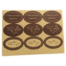 90PCS/Lot simple pattern Brown Wish series Ellipse DIY Multifunction Paper Label Adhesive Gift Seal Sticker карликовое дерево 1 90pcs diy