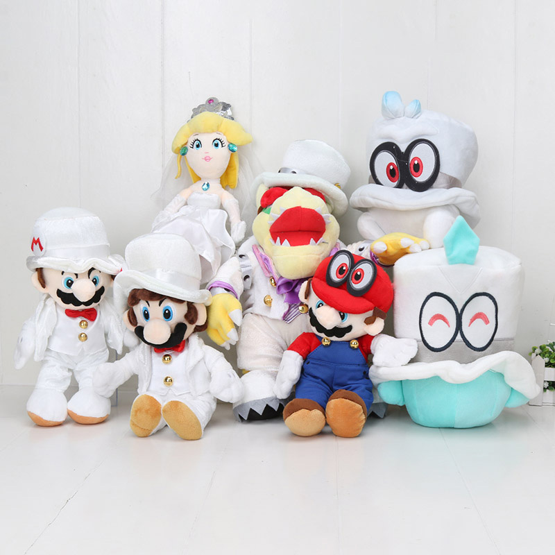 Us 6 78 32 Off Game Anime Super Mario Odyssey Bros Cosplay Caps Wedding Dress Bowser Koopa Cappy Peach Peluche Doll Plush Soft Stuffed Toy In Movies