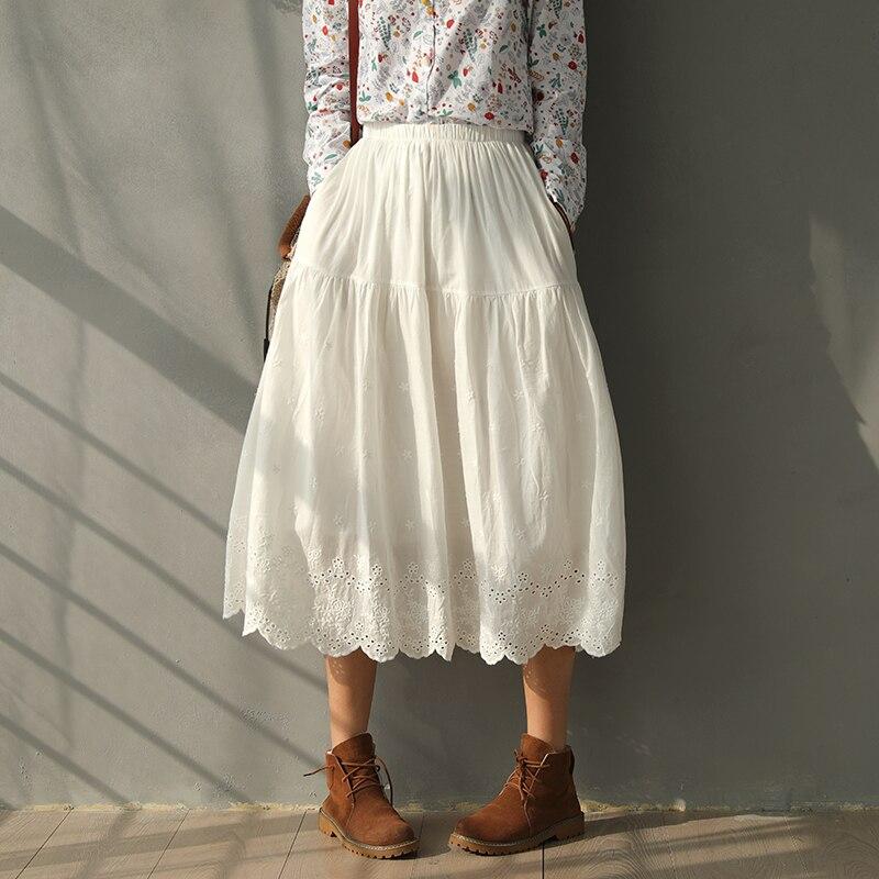 Fada pura cor sólida camadas de algodão 100% bordado saia longa lolita saia vintage 2020 primavera verão frete grátis
