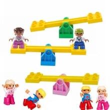 Figuras de acción de dibujos animados de partículas grandes, accesorio de balancín, modelo DIY, bloques de construcción compatibles con piezas Duplo, ladrillos, juguetes para niños