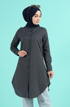 Minahill Khaki tunika moda muzułmańska islamska odzież skromne topy arabska odzież długa tunika dla kobiet 2519-03 tanie i dobre opinie TR (pochodzenie) tops Aplikacje Bluzki i koszule Octan Dla dorosłych