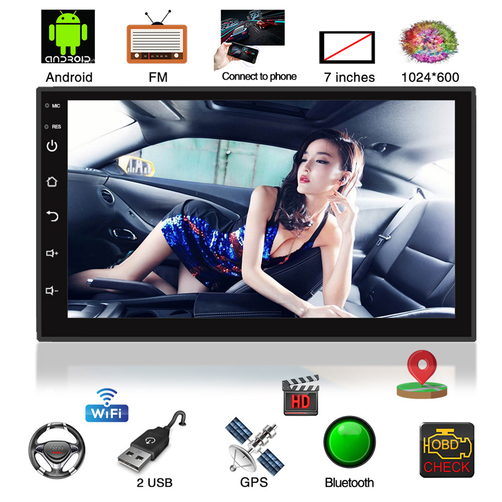7in Double 2Din HD 1024*600 Android Car Stereo MP5 Player GPS Navi BT FM Radio