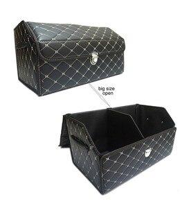 Image 4 - car storage box PU Leather Trunk Organizer Storage Bag color black gold for car accessories car organizer for smart 453 tiguan