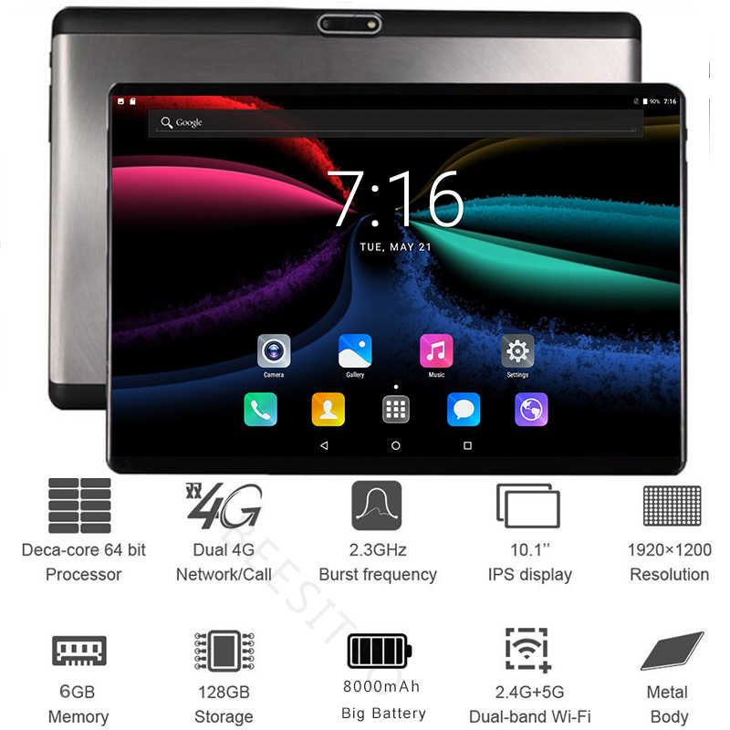 הגלובלי 10 אינץ tablet PC 6GB RAM 128GB ROM 10 ליבות אנדרואיד 8.1 4G LTE טבליות 10.1 IPS 1920*1200 HD מסך 13.0MP + מתנה