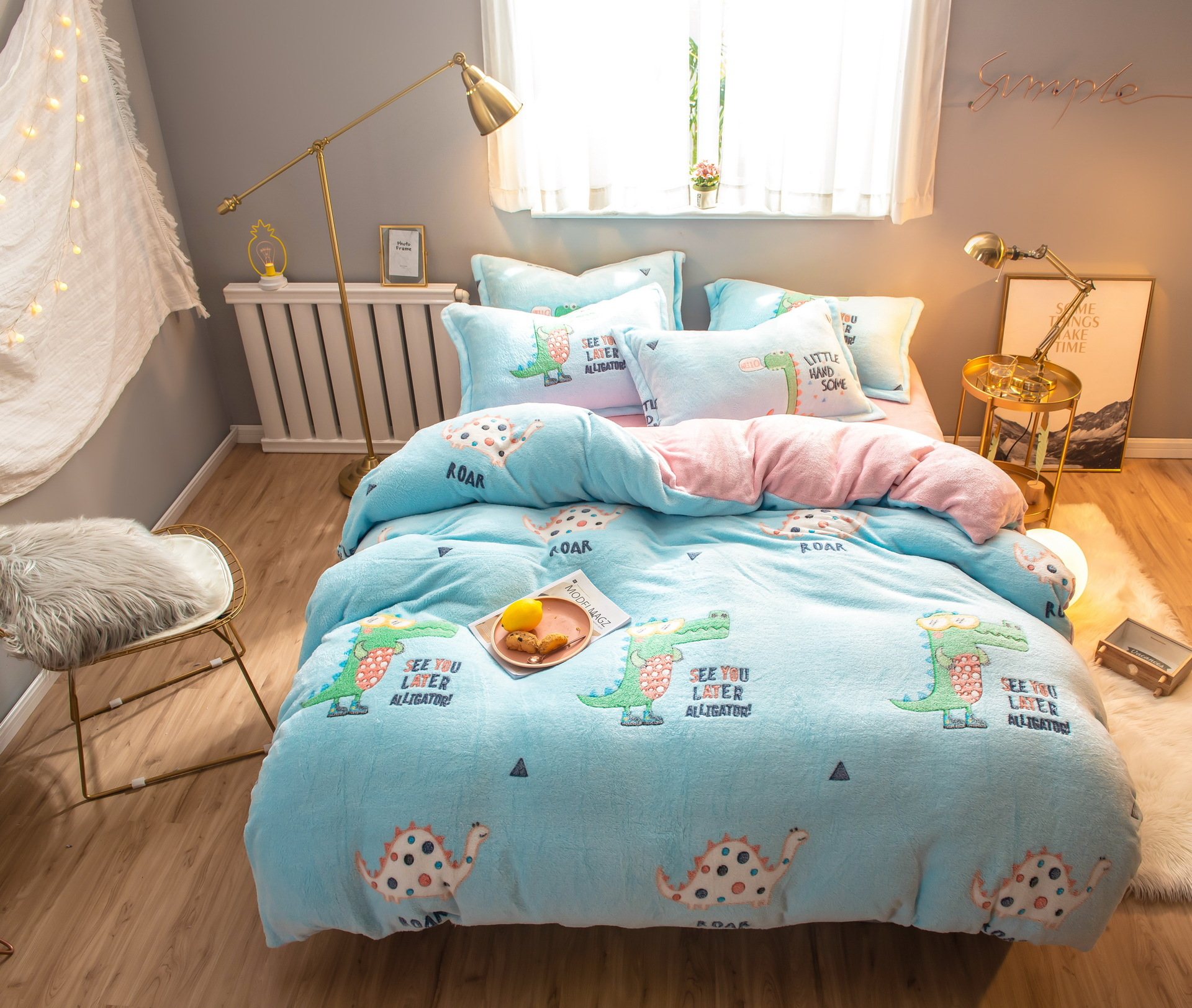 Autumn And Winter Thick Snow Rong Flannel Double-sided Plush Four-piece Set Crystal Velvet Coral Velvet Flannel Quilt Cover Shee