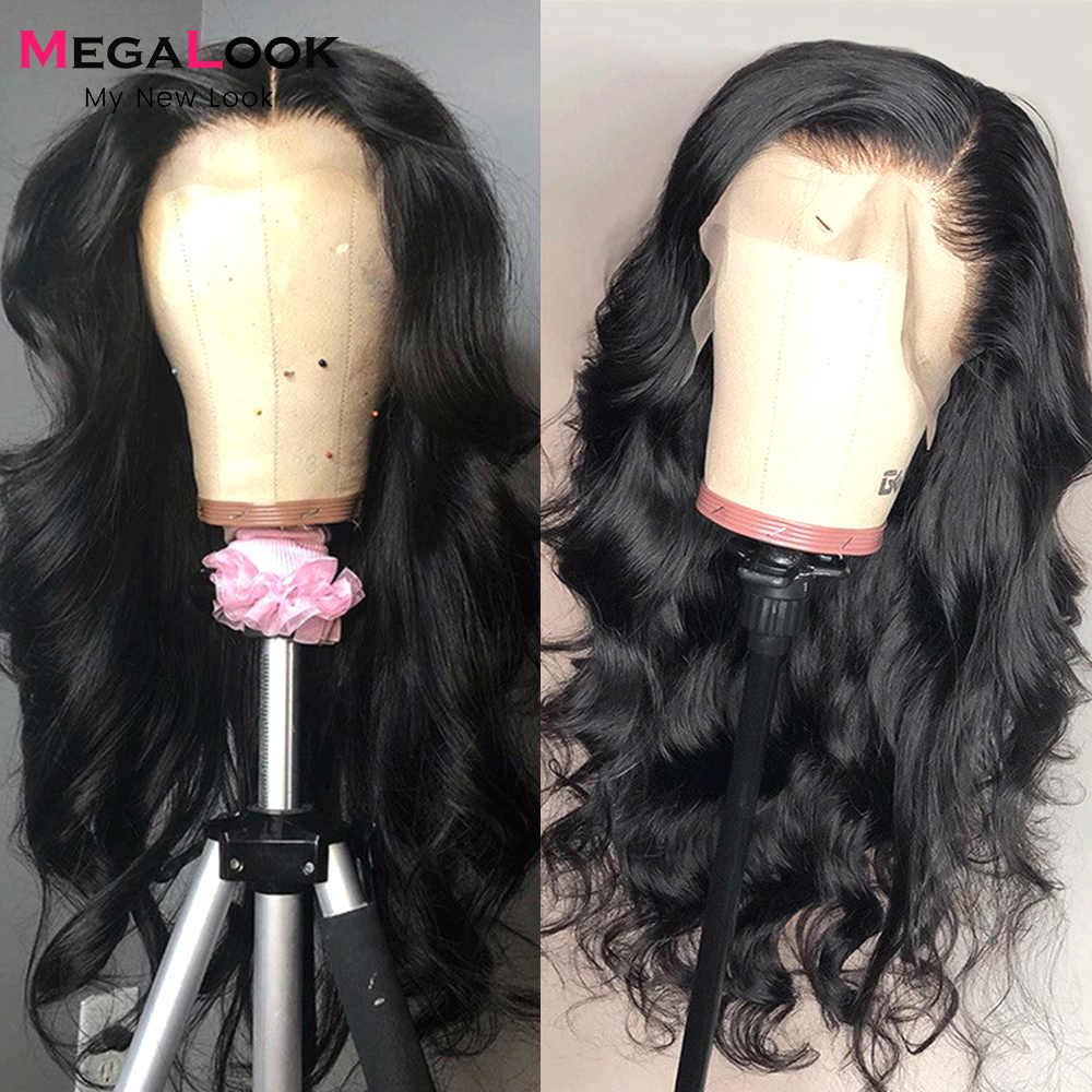 Megalook 13x4 кружевные передние парики для черных женщин предварительно выщипанные с ребенком волосы Remy Бразильская волна тела 13x4 кружевной передний парик из человеческих волос