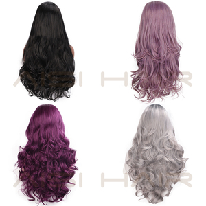 Image 4 - AISI HAIR Purple Long Wavy Wig Synthetic Lace Front Wigs for Black Women Natural Part Heat Resistant Fiber Wig