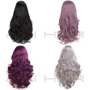 Image 4 - AISI saç siyah uzun dalgalı peruk sentetik dantel ön peruk siyah kadınlar için doğal kısmı ısıya dayanıklı iplik peruk