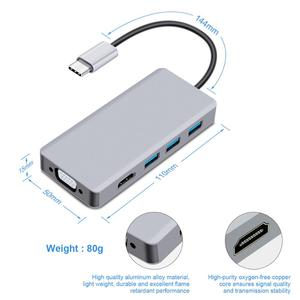 Image 3 - Thunderbolt 3 USB C ประเภท C ถึง HDMI VGA USB HUB 4K สำหรับ Samsung S9 HDTV โปรเจคเตอร์คอมพิวเตอร์ USB C Cable Adapter