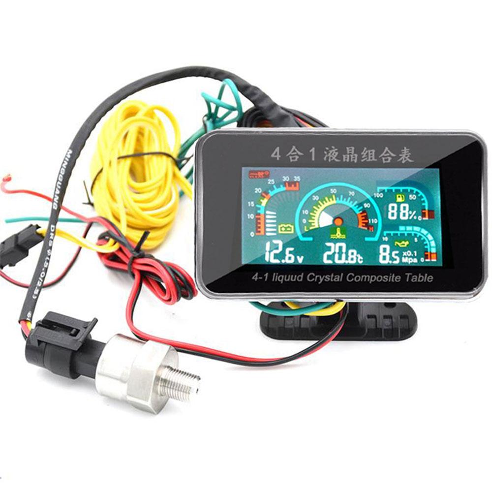4in1 12//24V LCD Auto Car Truck Oil Pressure//Voltmeter//Water Temp//Oil Fuel Gauge
