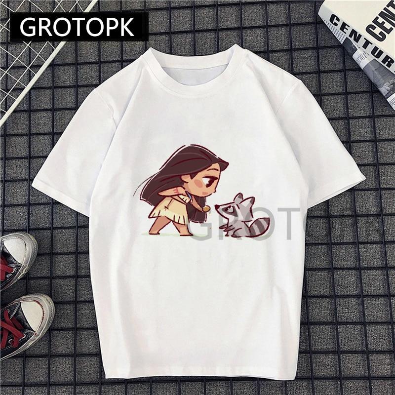 2019 New Harajuku Aesthetic Princess Pocahontas Prints Women T Shirt Summer Casual Short Sleeve O Neck T-shirt White TShirt Tops