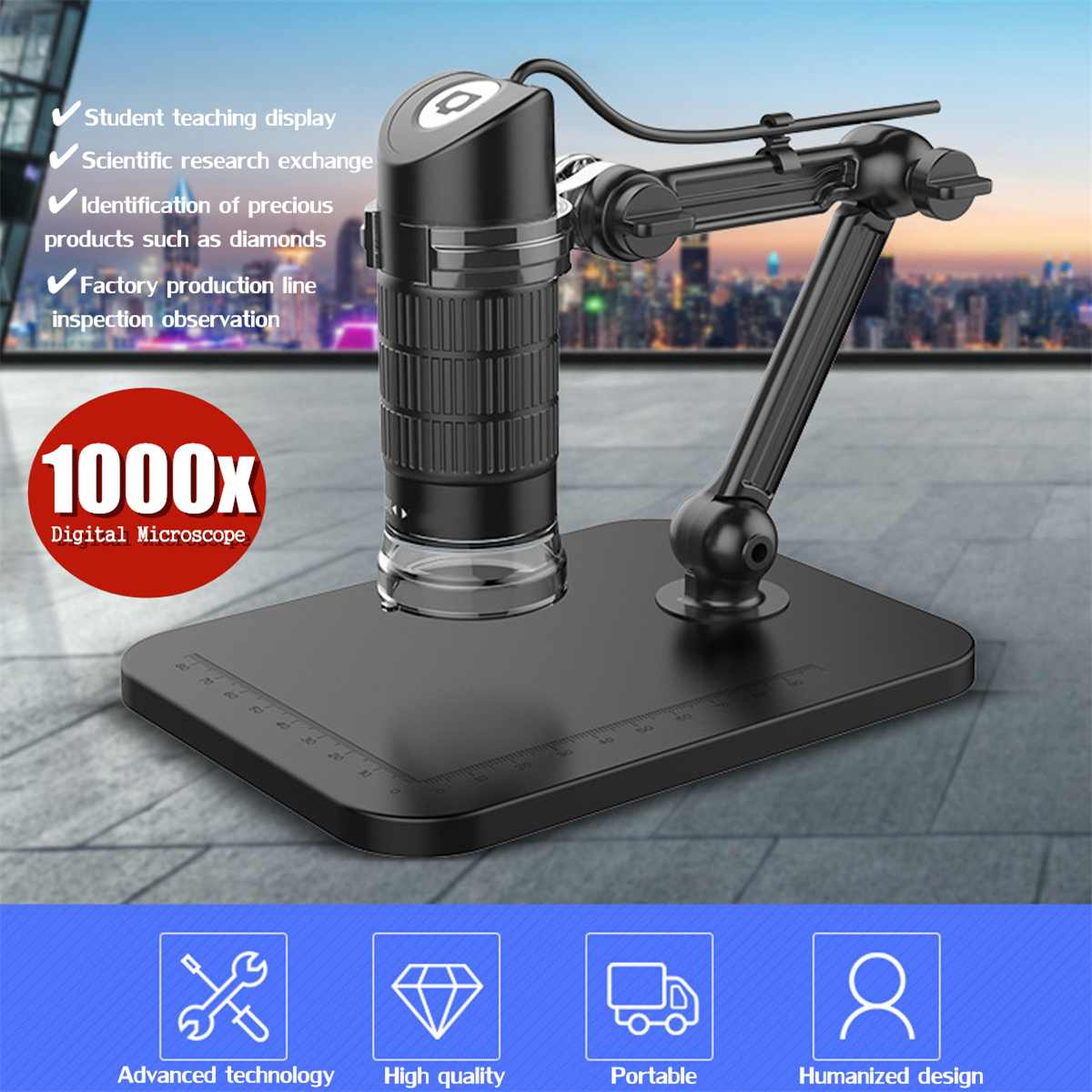 8 LED 2MP 1000X Electronic Microscope Endoscope Zoom Camera Magnifier Professional USB Digital Microscope Lift Stand Tools