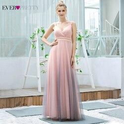 Pink Prom Dresses For Women Ever Pretty EP00621 New Design A Line V Neck Pearls Long Wedding Party Dress 2020 Vestido De Mujer