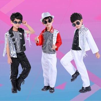 2019 crianças jazz dança lantejoulas trajes para meninos hip-hop cheerleading desempenho roupas rua dança tambor mostrar roupas