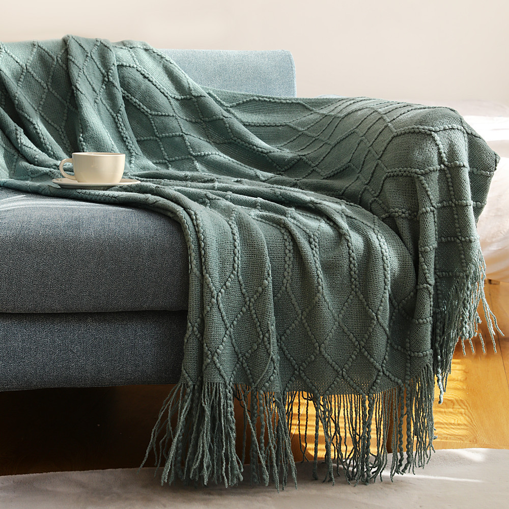Inya  Luxury Knitted Blanket Throw Frignes Warm Soft Weighted Blanket For Bed Fleece Plaid Throws Knitted Throw Blanket