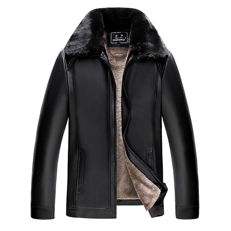 ChangNiu Casual Brown Leather Jackets Autumn Winter Warm PU Leather Jackets For Man Mid-Aged Full Sleeve Faux Fur Inside Coats