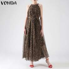 Vintage Leopard Printed Dress VONDA Women Bohemian Sleeveless Elegant High Waist Party Long Maxi Dresses Plus Size Casual Robe(China)