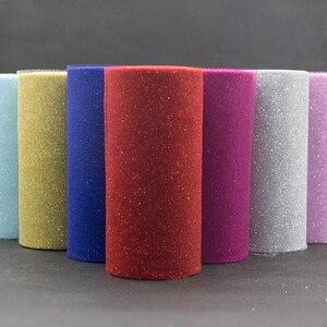 Image 1 - Rollo de tul de lentejuelas con purpurina, 25 yardas, decoración de boda, oro, láser, Organza, plata, brillante, lentejuelas, tul, suministros de fiesta