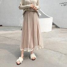 2019 Summer Autumn Velvet Skirt High Waist Patchwork Mesh Pleated All-match Females Bottom