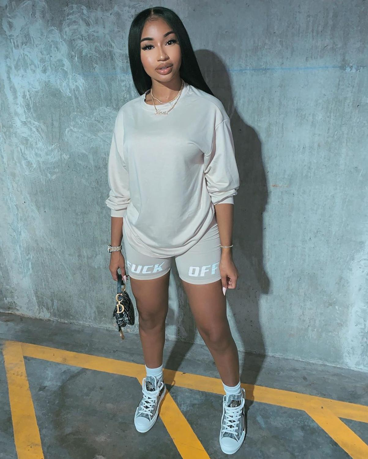 New Letter Print Two Piece Outfits Set Women Tracksuit 2020 Summer Long Sleeve T Shirt Sexy Tops +Biker Shorts Jogger Suits Sets