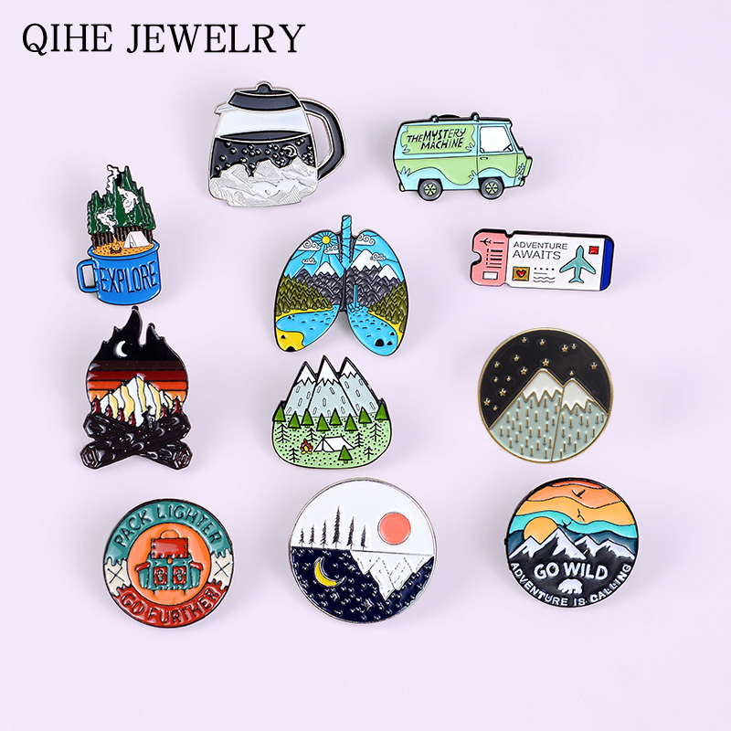Outdoors Adventure Enamel Pins Wild Hiking Travel Brooches Collection Bus Mountain Camping Firewood Explore Nature Badges