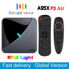 A95X F3 aire caja de TV Android 9,0 RGB luz Tv caja Amlogic S905X3 8k de Netflix servidor Plex Media Google Play A95X F3 Dispositivo de tv inteligente(China)