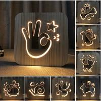 Wooden Creative Night Light Dog Paw Cat Animal 3D Light LED Novelty Decorative Table Lamp USB Holiday Children Christmas Gift