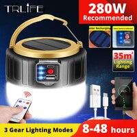 280W Solar-LED Camping Licht Zelt Lampe USB Aufladbare Lampe Tragbare Laternen Hängen Taschenlampe Für Notfall Reparatur Light190W