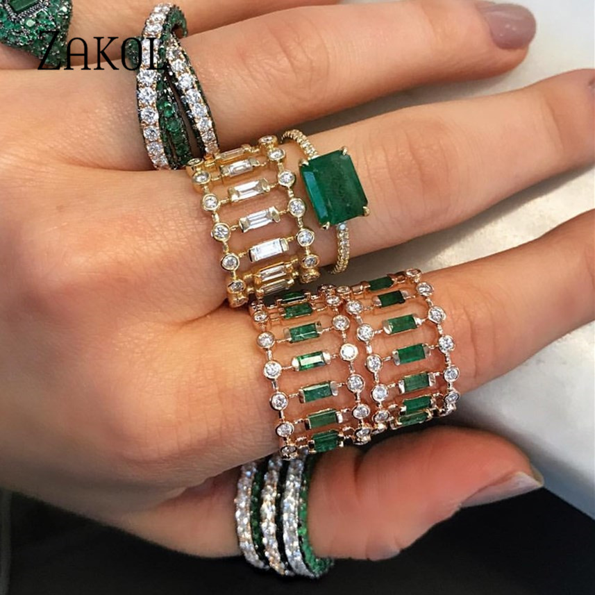 ZAKOL Chic-Rings Stackable Wedding-Cubic-Zircon Dubai Engagement Tennis Eternity Women title=