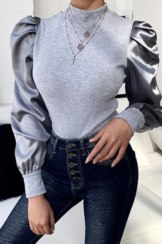 solid color long sleeve round collar skirt hem lace embellished t shirt for women Sweater Women Autumn 2020 New Long Bubble Sleeve Knitted Shirt Female Cotton Solid Color Slim Round Collar Elegant Party Tops