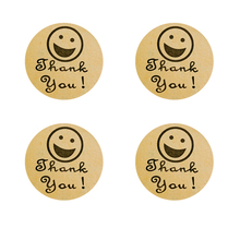 100Pcs/pack Baking Bag Decoration  DIY Gift Round Thank You Smiley Cowhide Sealing Stickers