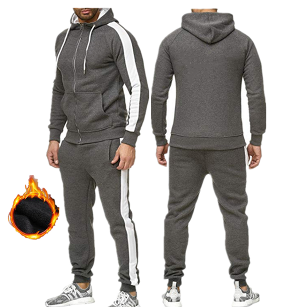 2019 New Mens Hoodie Suit Zipper Casual Sportswear Sweatshirts Two-piece Running Jacket Winter Warm Thicken Hooded Tracksuit