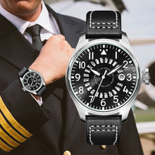 Mens Pilot Watches Luxury Brand Men Calendar Waterproof Watch Man Casual Sports Military Leather Belt Wrist reloj hombre