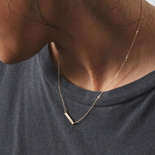 Simple and Delicate Geometric Rectangular Pendant Female Stainless Steel Necklace 316L Necklace delicate alloy geometric necklace for women