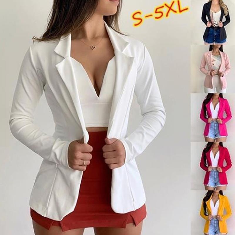 Women Blazer Spring Autumn Single Button Blazers Office Lady White Coat Jacket Female Tops Suit Blazer Femme Jackets