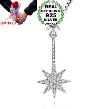 OMHXZJ venta al por mayor de moda Sun Octagon estrella mujer chica regalo circón 925 Sterling Silver colgante Charms PE93 (sin collar de cadena)