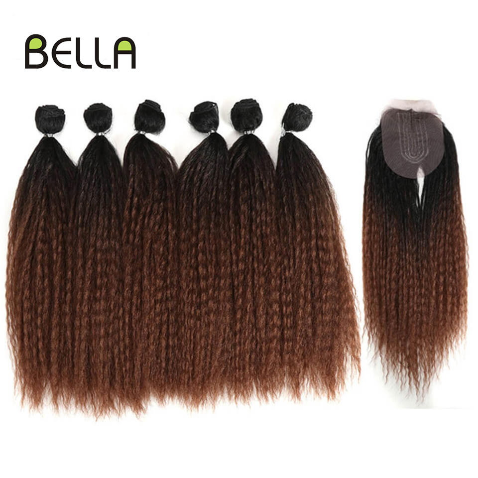 Afro Kinky Straight Hair Bundle With Closure Synthetic Hair Weave 7pcs/Lot Ombre Synthetic For Black Women Hair Extension BELLA