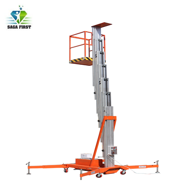 Electric Single Post Aluminum Platform Man Lift With Load Capacity 100kg