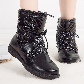 Women Boots 2019 Winter Shoes Woman Bling Snow Boots Plus Size Botas Mujer Waterproof Winter Boots Low Heels Ankle Boots Feamle