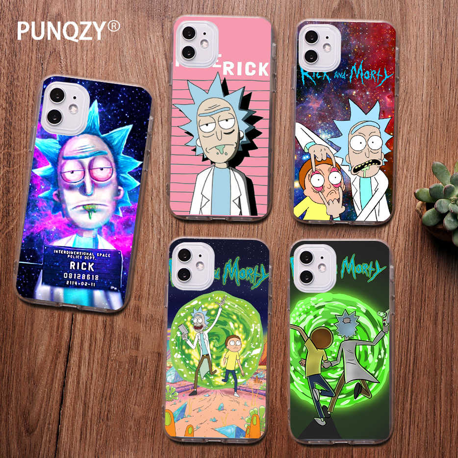 PUNQZY Funny Rick and Morty Cartoon anime Phone Case For iPhone 11 pro MAX X XR XS MAX 6 8 7 plus 11 Cartoon Soft TPU Cover Case