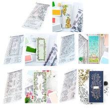 Slimline floral quadro de folhas ser corajoso sentimentos gratos selos e dados conjunto para diy scrapbooking cartões artesanato 2021 novo