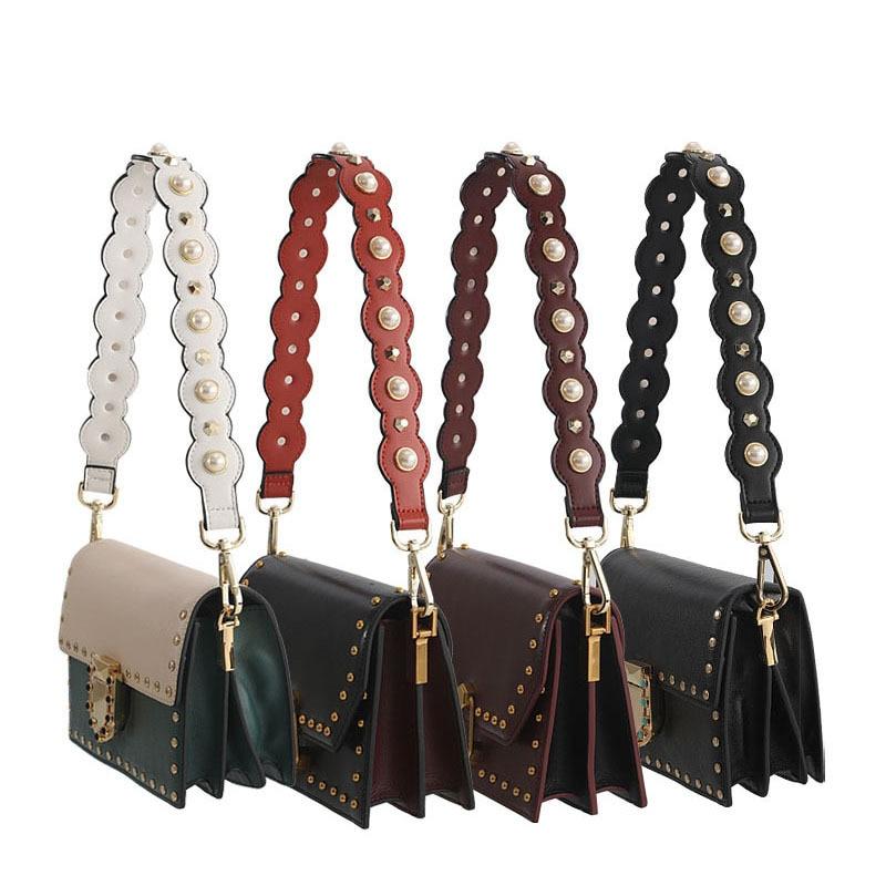 62cm PU Short Wide Pearl Handbag Belt Fashion Light Leather Rivet Shoulder Bag Strap New 5 Colorful Pearl Bag Accessories Parts
