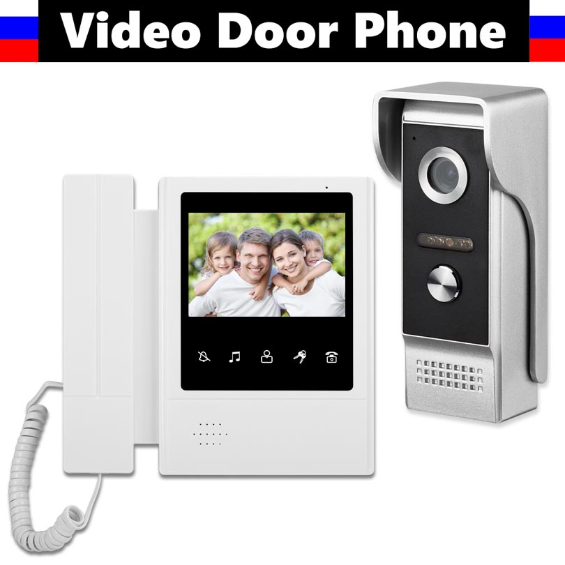 "4.3"" Touch Monitor Video Intercom Doorbell System Video Door Phone Kit ForHome Security  With 700TVL Camera 1 PCS Phone Screen"