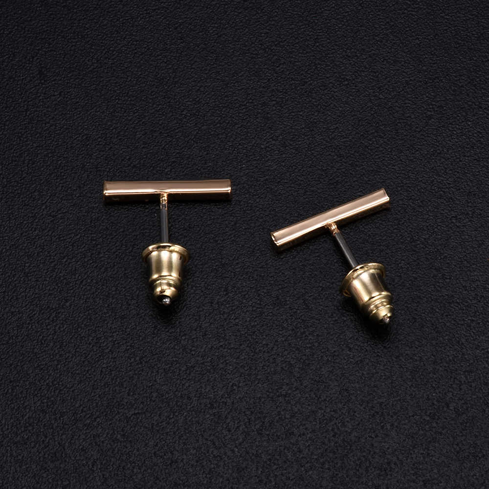PUNK Black Gold Silver ต่างหู Simple T BAR ต่างหูผู้หญิงสตั๊ดต่างหูเครื่องประดับ Brincos Bijoux Femme