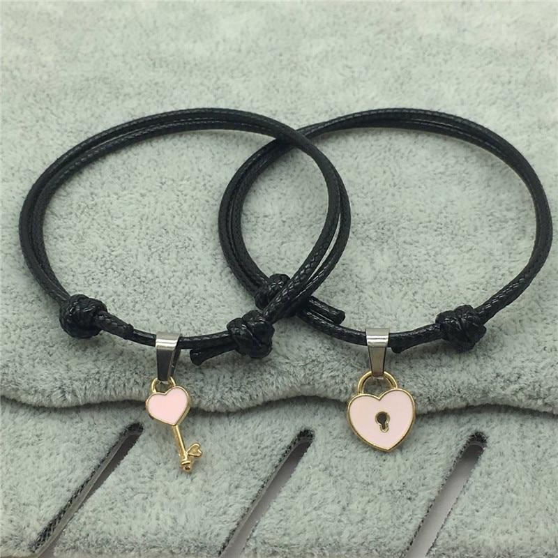 2 PCs/lot,New Arrival Couple Bracelet Alloy key Heart Lock Charm Bracelet Handmade Jewelry Rope Bracelet Lovers Gifts for Women 6